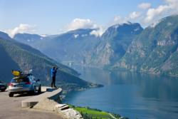 Viewpiont along the National Tourist Route Aurlandsfjellet. Aurland and the Aurlandsfjord below. Sogn og Fjordane, Norway.