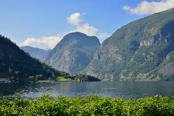 The Aurlandsfjord seen from Aurland. National Tourist Route Aurlandsfjellet in Sogn og Fjordane, Norway.