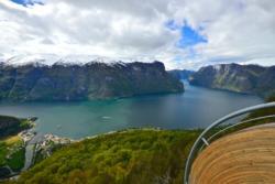 Stegastein Lookout above Aurland and the Aurlandsfjord. National Tourist Route Aurlandsfjellet in Sogn og Fjordane, Norway.