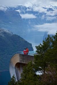 Stegastein Lookout above the Aurlandsfjord. National Tourist Route Aurlandsfjellet in Sogn og Fjordane, Norway.