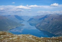 View from Mt. Molden towards the Lustrafjord. The Sognefjellet National Tourist Route go along the left side of the fjord.