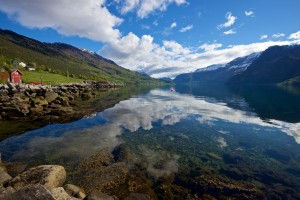 The Lustrafjord. The Sognefjellet National Tourist Route go along the left side of the fjord.