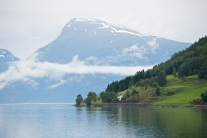 The Lustrafjord seen from Skjolden. Mt. Molden in the background.