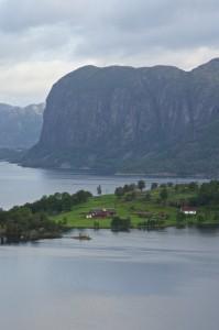 Lake Ragsvatnet, Frafjorden in the background. Ryfylke in Rogaland.