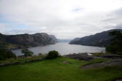 View towards the Lysefjord in Ryfylke.