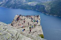 Preikestolen and the Lysefjord. From the hike towards Preikestolen (the Pulpit Rock) in Ryfylke.