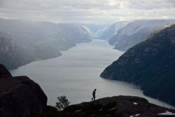 View towards the Lysefjord. From the hike towards Preikestolen (the Pulpit Rock) in Ryfylke.