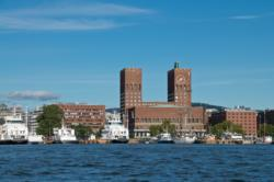 Oslo Town Hall seen from the kayak on the Oslofjord.