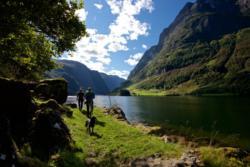 Walking along the Nærøyfjord.