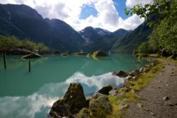 Lake Bondhusvatnet in Sundal, Kvinnherad. Hardanger in Hordaland, Norway.