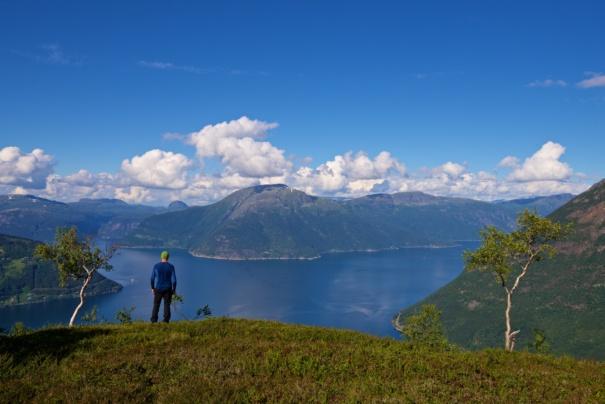 Queen Sonja´s Trail in Kinsarvik, Hardanger. View down to the Hardangerfjord and Sørfjorden.
