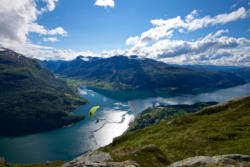 View from Mt. Hoven towards Nordfjord and Olden.