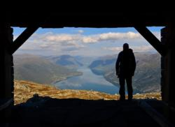View from Ernstbui at the top of Mt. Molden. View towards Luster, Skjolden and the inner part of the Lustrafjord.