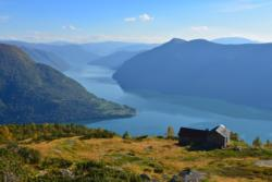 View from Mt. Molden towards Svarthiller, Urnes and the Lustrafjord