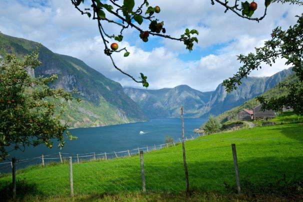 Otternes Farmyard between Aurland and Flåm in Sogn. Sogn og Fjordane, Norway. Photo: Øyvind Heen - www.fjords.com