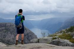 The hike towards Preikestolen, close to the summit. View towards the Lysefjord.