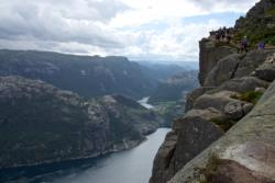 The hike towards Preikestolen, close to the summit. View down to the Lysefjord.