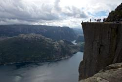 On the edge of Preikestolen. The Lysefjord is 604 metres below the edge.