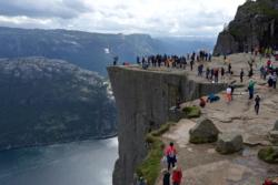 View from Preikestolen towards the Lysefjord. It can be crowded up on the plateau.