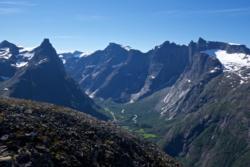 View from Romsdalseggen towards Romsdalen Valley, Romsdalshorn and Trollveggen.