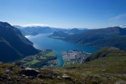 Åndalsnes and the Romsdalsfjord seen from Romsdalseggen.
