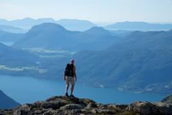 Romsdalseggen Ridge. View towards the Romsdalsfjord and the Atlantic Coast.
