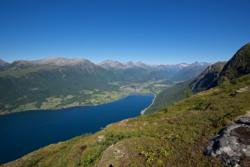 View towards isfjorden from Romsdalseggen in Romsdal. From Mt. Nesaksla before the descent down Romsdalstrappa.