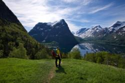 On the trail towards Segestad. Lake Oppstrynsvatnet in the background.