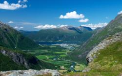 View from Mt. Litlefjellet towards the Romsdalen Valley, Rauma River and Åndalsnes by the Romsdalsfjord. Photo: www.fjords.com