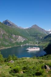 Geiranger and the Geirangerfjord seen from Homlong.