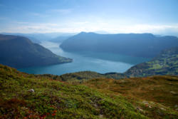 View from Mt. Molden towards the outer part of the Lustrafjord