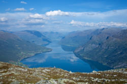 View from Mt. Molden towards the inner part of the Lustrafjord