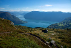 View from Svarthiller Mountain Farm towards the outer part of the Lustrafjord
