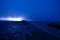 The Atlantic Road and Storseisundbrua Bridge. Lightning in the background.