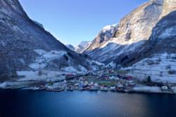 Winter in Undredal - Undredal seen from the Aurlandsfjord