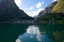Undredal seen from the Aurlandsfjord