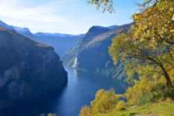 The Geirangerfjord seen from Ørnesvingen Viewpoint.