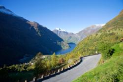 The road between Geiranger and Flydalsjuvet Viewpoint. The Geirangerfjord in the background.