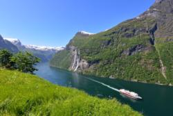 The Geirangerfjord and the Seven Sisters Waterfall seen from Skageflå Mountainfarm.