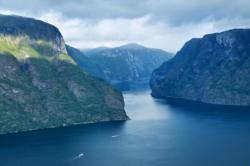 The Aurlandsfjord seen from Stegastein Lookout.