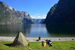 Camping on the Salthella Beach in the middle of the UNESCO Protected Nærøyfjord.