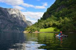 Kayaking on the UNESCO Protected Nærøyfjord in Sogn.