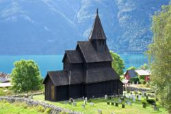 Urnes Stave Church at Urnes by the Lustrafjord.