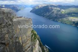 Preikestolen (the Pulpit Rock) and the Lysefjord in Ryfylke. Rogaland, Norway