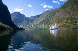 The Nærøyfjord in Sogn og Fjordane, Norway.